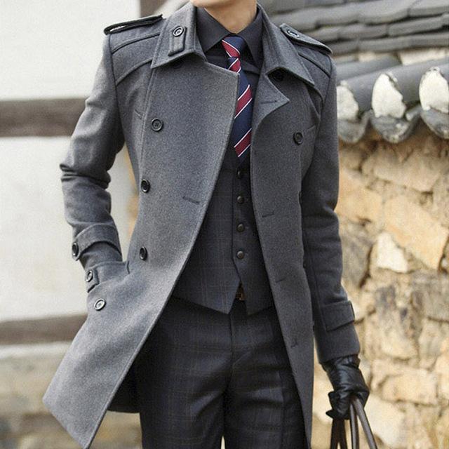Reloj! recién llegado de la novedad de la alta calidad e invierno de hombre abrigo de lana medio largo engrosamiento de lana delgada guapo ropa prendas de vestir exteriores