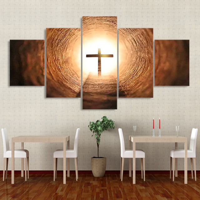 Pictures Frame Canvas Wall Art Kitchen Restaurant Decor 5 Pieces Glowing  Jesus Crosses Living Room HD