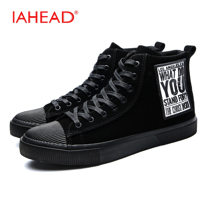 IAHEAD Men Boots High Top Lace-Up Flats Casual Shoes Winter Autumn Fashion Tactical Boots Mens Rubber Rain Boots MU538 iahead men boots genuine leather flats new casual shoes lace up warm winter boots men plus size 38 48 rain shoes men mh586
