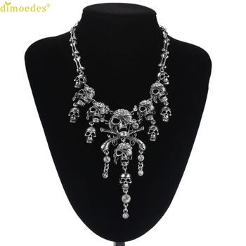 Diomedes Newest Creative Necklace Women Punk Style Retro Pirate Skull Cluster Rhinestone Chian Necklace Accessories Sexy Chain 1