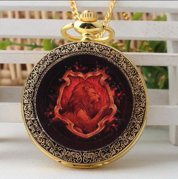 Hogwarts School Of Witchcraft And Finland Enamel Pattern Golden Antique Quartz Children Gift Pocket Watches