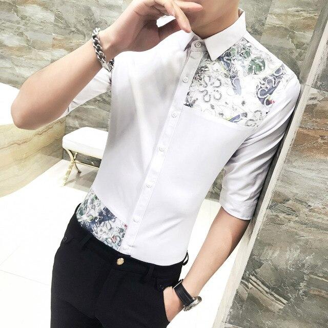c13c0e37cd2 Summer Dress Shirt Men 2018 Korean Slim Fit Half Sleeve Social Shirts Male  Plus Size Casual Sexy Lace Patchwork Blouse Homme 3XL
