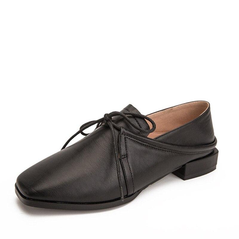 db4ac6fb53519e En Femmes Lacets Printemps Pour 2019 Orteil Derbies D'été À Noir Cuir  Vintage white Carré Chaussures ...