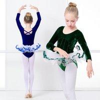 Girls Princess Dress Lyrical Ballet Tutu Velvet Dancing Dress Royal Blue Leotard