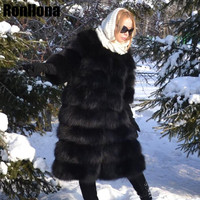 2018 New Women Real Full Pelt Fox Fur Coat O Neck Genuine Leather Coat Winter Blue Fox Fur Fashion Jacket Female Luxury FC 183