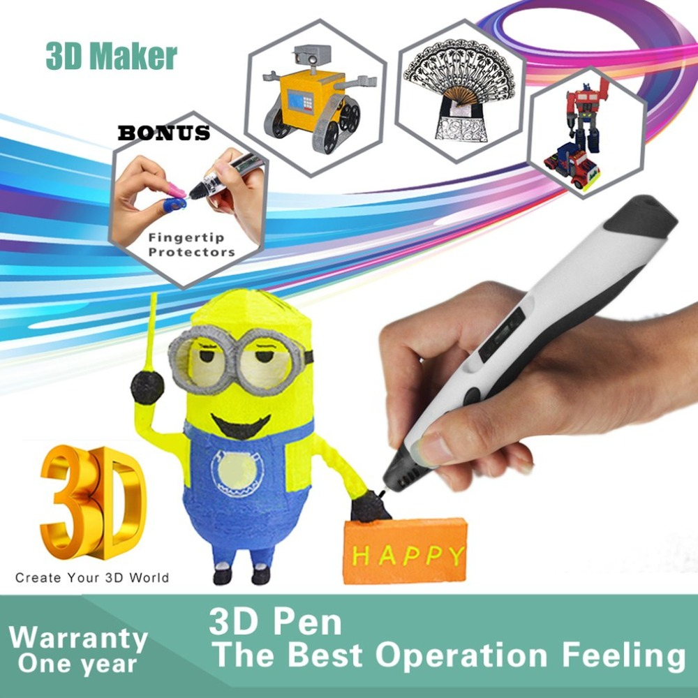 Pluma de impresión 3D de baja temperatura niños Graffiti pluma niños divertida herramienta de dibujo Con 5 M 20 colores PLA Material - 2
