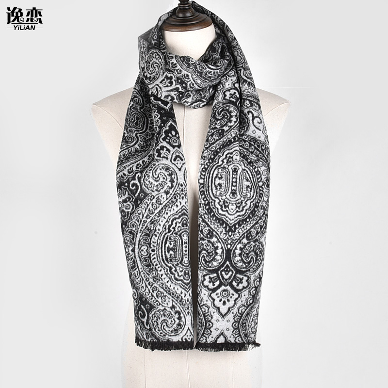 Flower Men Cotton Luxury Scarves For Winter Tassel
