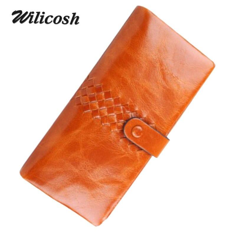 100% Brand Genuine Leather Long Design Women Wallets Clutches Cowhide Female Wallet Purse Money Clip Purses Clutch Bag WL207