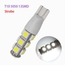 Wholesale!! 100pcs/lot Strobe Flash T10 5050 13 SMD 194 168 192 W5W Auto Car Side Light Tail Bulb LED Wedge Lamp Lights white 100pcs univeral t10 wedge 5 smd 5050 xenon led light bulbs 192 168 194 w5w 2825 158 cool white license plate lights freeshipping