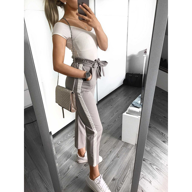 Casual Bow ties women pants long striped causal 2018 Autumn  female Trousers fashion streetwear Trousers WS9710Y
