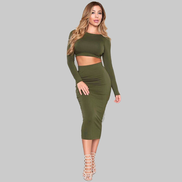 172391cb819 2 pcs Sexy Crop Tops And Skirts Women s Sets Green Full Sleeve Backless  Crisscross Bandage Sexy Club Midi Bodycon Party Dresses