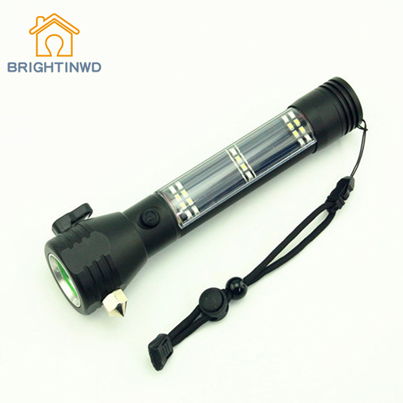 цена на LED Multifunctional Solar Lighting Flashlight Car Safety Hammer Alarm Escape Rescue Outdoor Household Emergency Portable Light