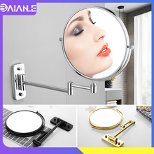 цена Bathroom Mirror Stainless Steel Dual Arm Extend 2-Face Cosmetic Mirror Wall Mounted Adjustable Make Up Mirror Magnifying 8 Inch