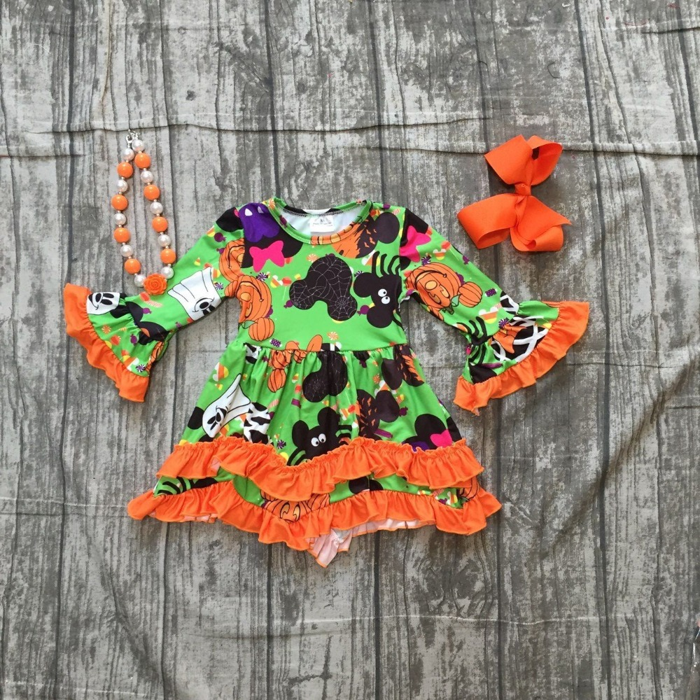 Halloween pumpkin dress baby girls long sleeves mouse milk silk pumpkin print orange ruffle Halloween dress with accessories halloween pumpkin kangaroo pocket hoodie