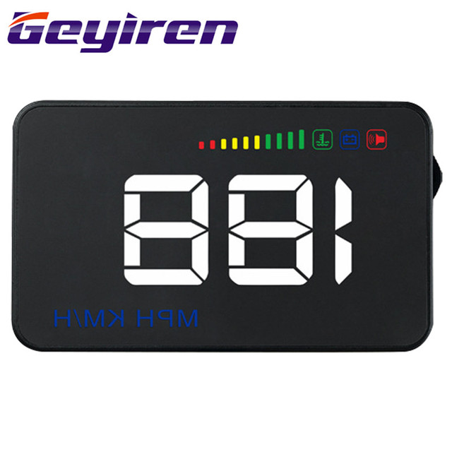 GEYIREN General Vehicle HUD Head-up Display Overspeed Alert Windshield High Definition Projector Black Alarm System A500