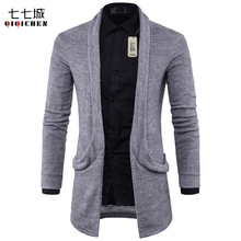 Autumn New Cardigan Sweaters Men 2017 Big Pocket  Casual Long Cardigan Men Knitted Sweater with Collar Cardigan Masculino Coat