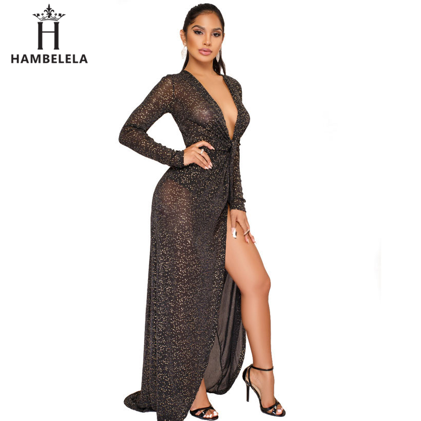 ... HAMBELELA Long Sleeve Sequin Dress Women Sexy V-Neck See Through Party  Bodycon Dress Evening ... 60b0e81c54c3