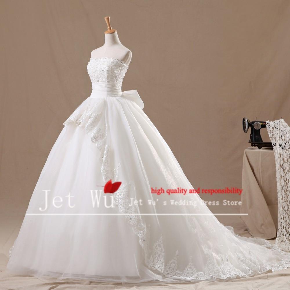 2015 uus reaalne pilt kaasaegse palli kleit pitsiga, mis on kantud kuningliku rongi pulmakleit vestido de novia tootja 7023