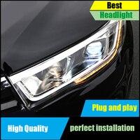 Автомобиль голове стиль лампы для Toyota Highlander/Kluger фары 2015 2016 2017 led DRL динамический сигнал поворота сборки фар