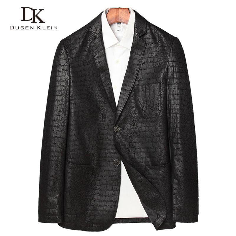 Genuine leather jackets men Crocodile pattern New arrivals 2017 Sheepskin Simple leather coats Slim Fashion male jacket J1730