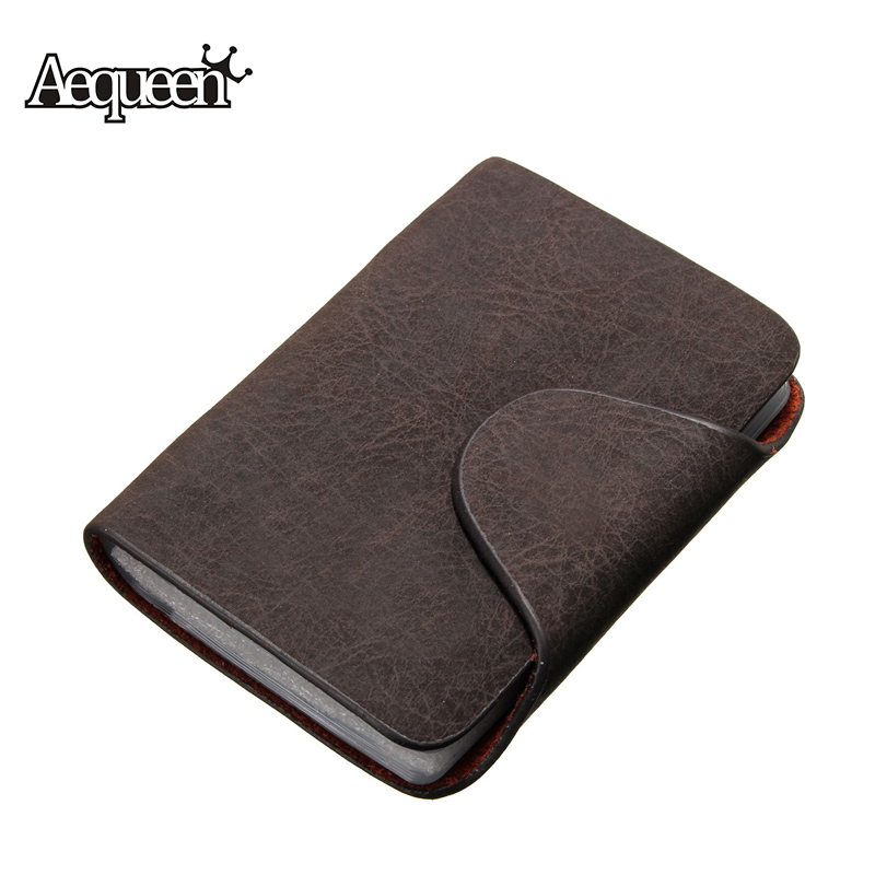 AEQUEEN Business Card Holder Mem Women ID Credit Card Holder Case Nubuck PU Leather Fold Slots Wallet Business Package 20 Bits