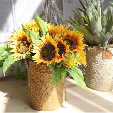 Sunflower Artificial Flower Bouquet of Fake Flowers Wedding Decoration Hand Holding Cloth Home Accessories