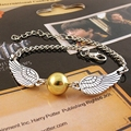 2016 Hot Selling The Movie Deathly Snitch Wing Hallows Harry Potter Bracelet Gold Plated Silver Golden Snitch Pocket Bracelets
