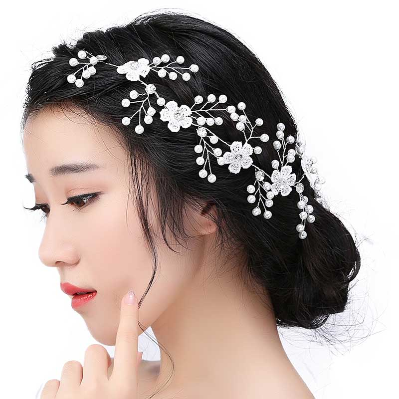 Wedding Hair Accessories For Bridal Lace Flowers Crystal
