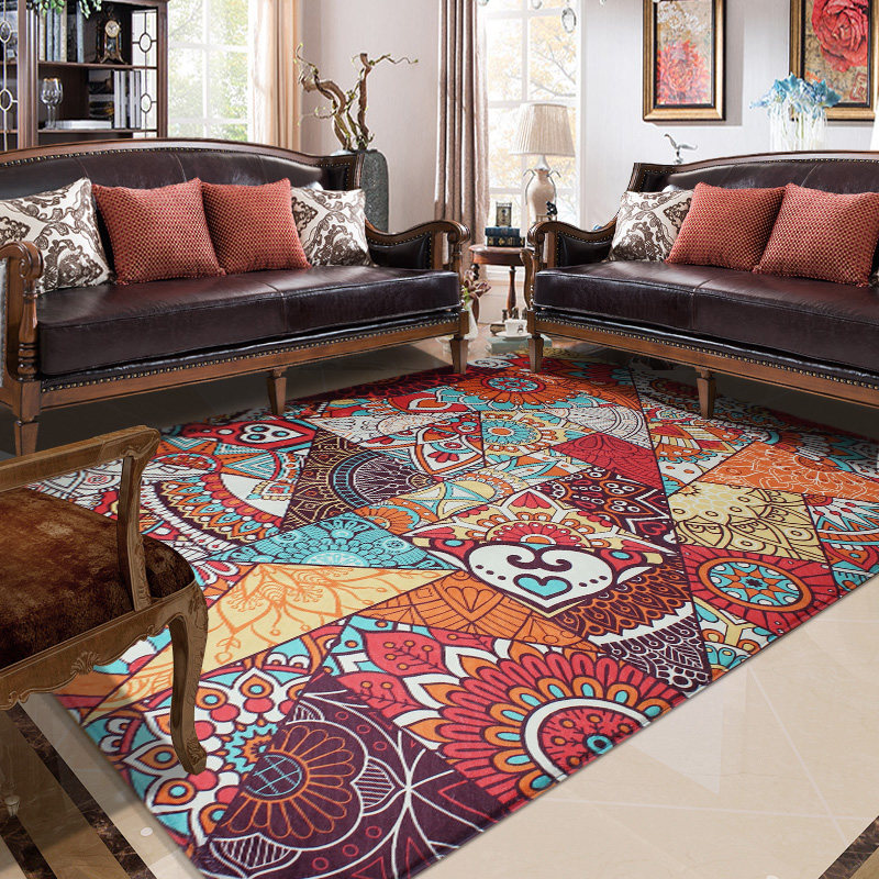 Retro Ethnic Style Living Room Carpet Home Decor Bedroom Carpet Sofa Coffee Table Rug Study Room