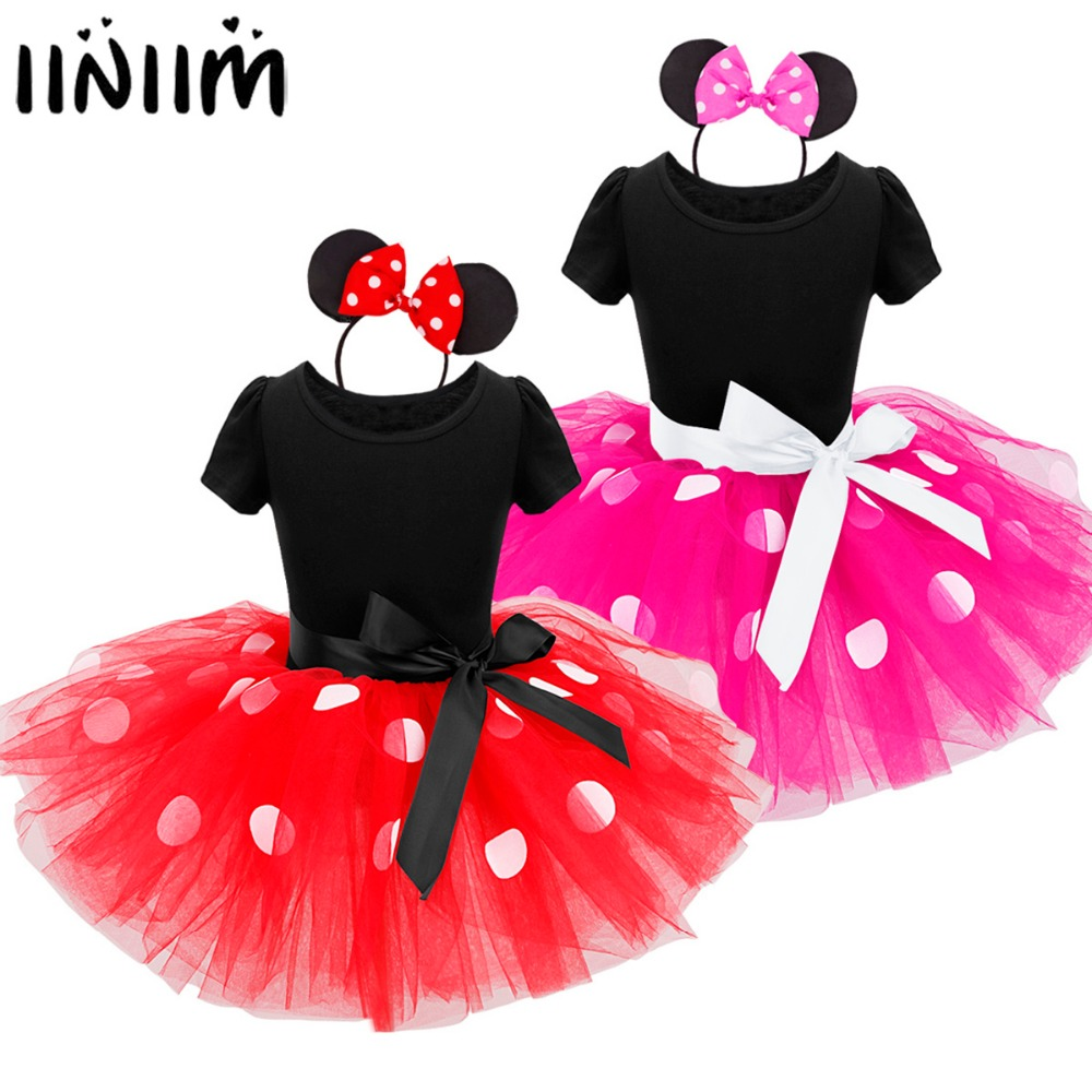 Girls Polka Dots Minnie Tutu Dress with Headband for Ballet Dancewear Gymnastics Leotard Performance Costume Fancy Dress