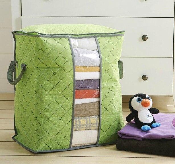 Bamboo Quilt Folding Storage Box Organizer Bag Charcoal Clothes Blanket  Closet New Foldable Home Basics Fabric