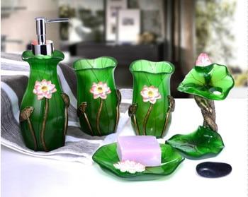 5 Pcs/Set Lotus Flowers Leaves Series Bathroom Supplies Wash Set Creative Resin Pastoral Style Bathroom Accessories Set