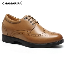 CHAMARIPA Increase Height 8cm/3.15 inch Men Elevator Shoe High Heel Shoes Taller Shoes Gentlemen Leather Brown Lift Shoes Taller