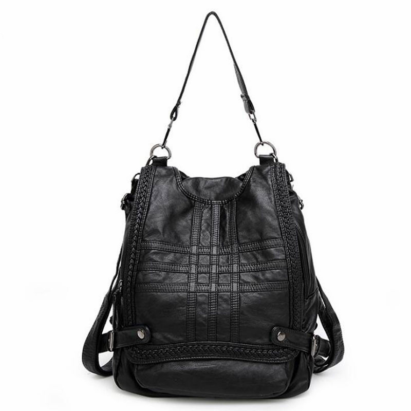Soft Genuine Leather Women Backpacks Fashion Women s Shoulder Bag Girls School Bag Solid Back bag