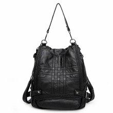 Мягкие Пояса из натуральной кожи Для женщин Рюкзаки женские Модные сумка Обувь для девочек школьная сумка одноцветное обратно мешок для подростков высокое качество
