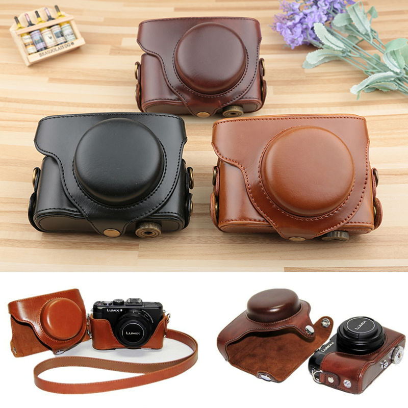 leather camera <font><b>case</b></font> camera bag for Panasonic <font><b>Lumix</b></font> DMC-<font><b>LX7</b></font> <font><b>LX7</b></font> LX5 LX3 Camera With Shoudler Strap image