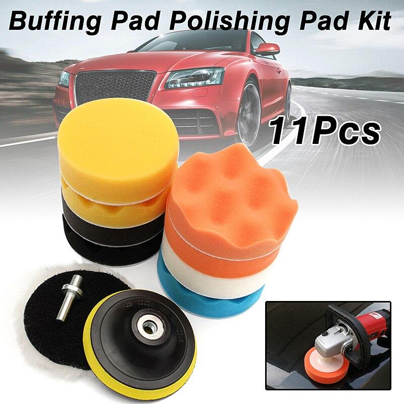 Set von 11 stücke 100mm/4 Gross Puffer Verbindung Wachsen Polierscheibe Tool Schwamm Pad Drill Adapter Kit Set für Auto Auto polierer