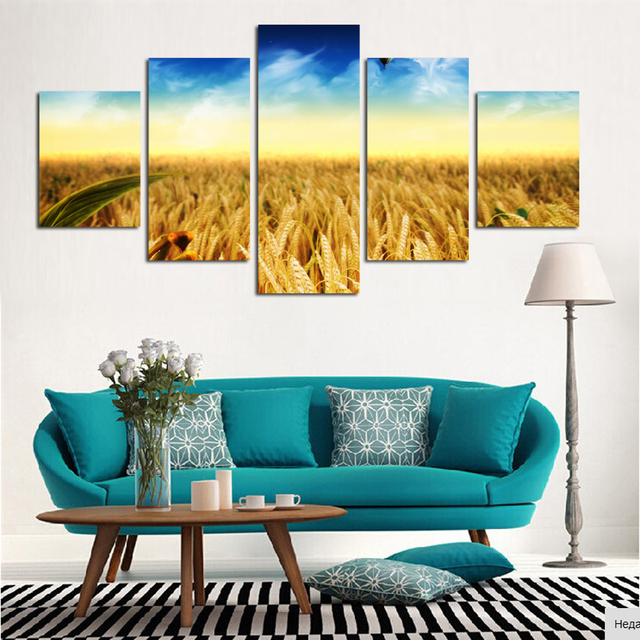 5 Panel Modern Pastoral Painting HD Picture Canvas Art Home Decor Living  Room No Frame Grand