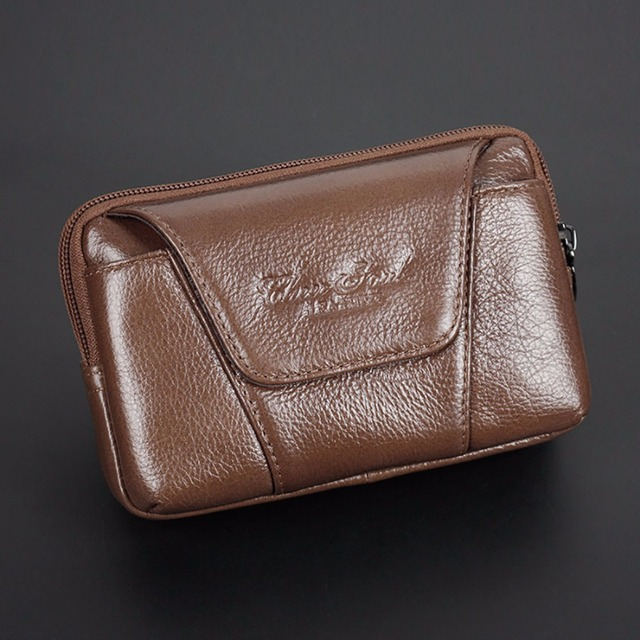 100% Real Genuine Leather Men Cell Mobile Phone Bag Case Cover Loops Skin Belt Purse Male First Layer Cowhide Fanny Waist Pack