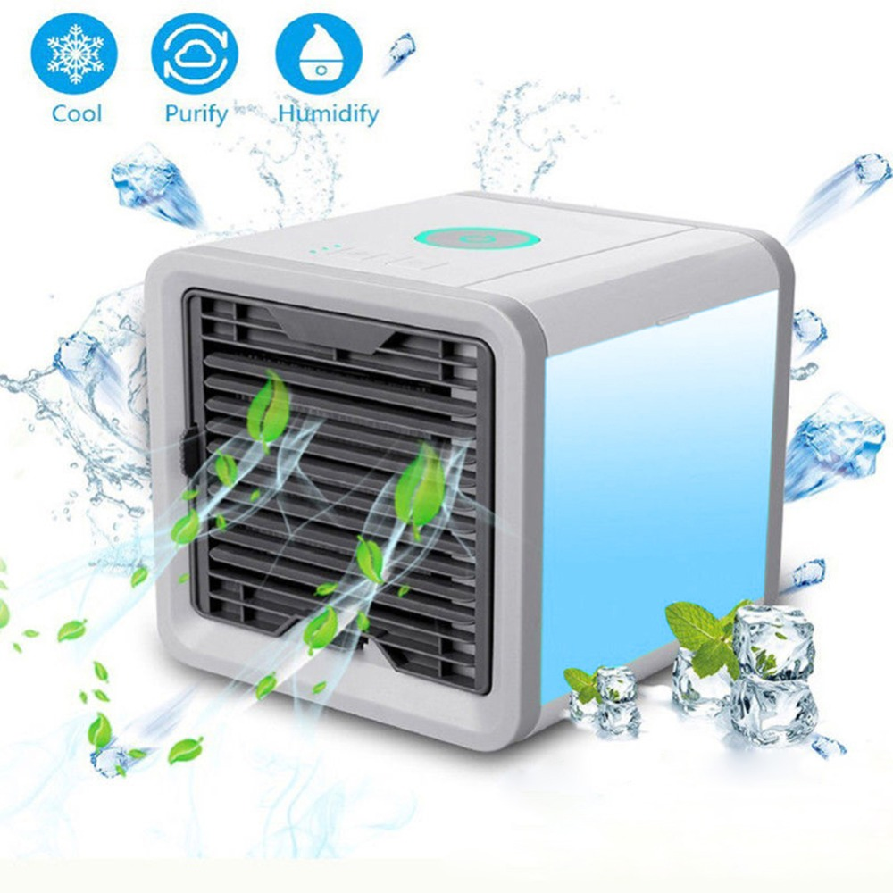 USB Mini Portable Air Conditioner Humidifier Purifier Led Light Desktop Air Cooling Fan Cooler Fan for Office Home HVAC SystemsUSB Mini Portable Air Conditioner Humidifier Purifier Led Light Desktop Air Cooling Fan Cooler Fan for Office Home HVAC Systems
