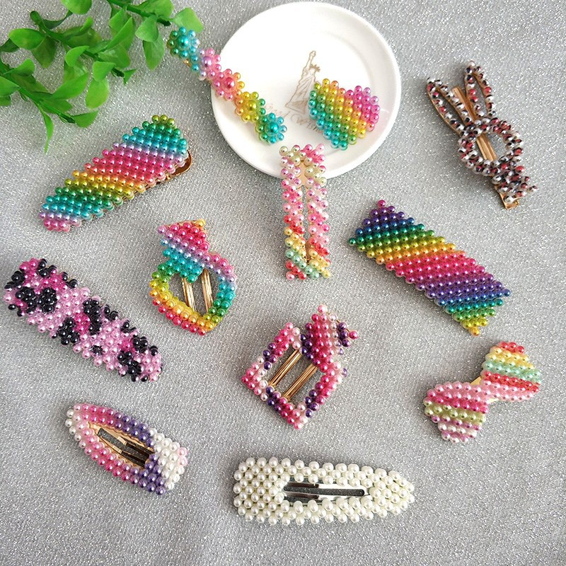 New Rainbow Colorful Leopard Pearl Hair Clips Korean Style Women Girls Jewelry Gift Imitation Pearl Snap Barrette Stick Hairpins