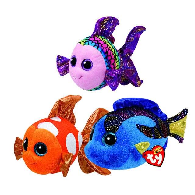 037d71ad5ee TY Beanie Boo Flippy Multicolored Aqua Blue Sami Fish Plush Stuffed Doll  Toy Collectible Soft Toys Big Eyes Plush Toys