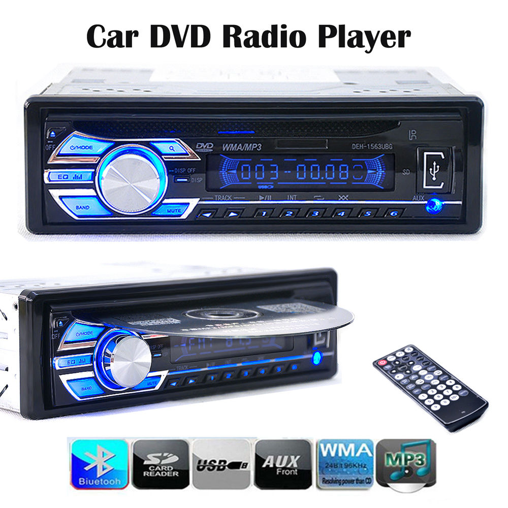 New Car Electronics Audio Car Radios Car Stereo 1563U FM Radio MP3 Audio Player Support SD MP3 AUX USB DVD VCD CD In Dash