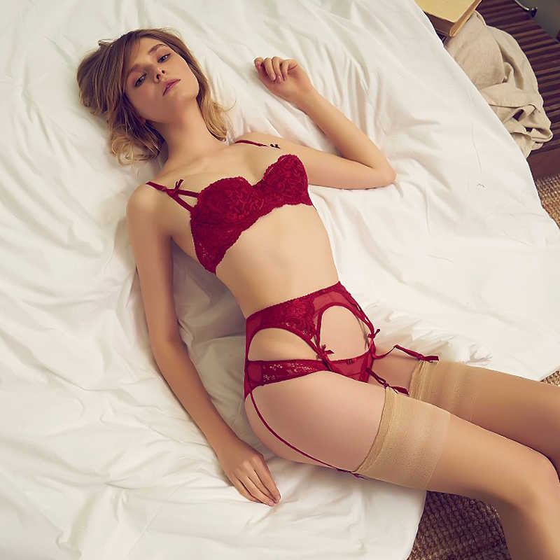 ee2f674dd14 3 Pcs Lingerie Victoria Sexy Bra Panty Set Intimates With Garters  Embroidery Half Cup Thin Temptation