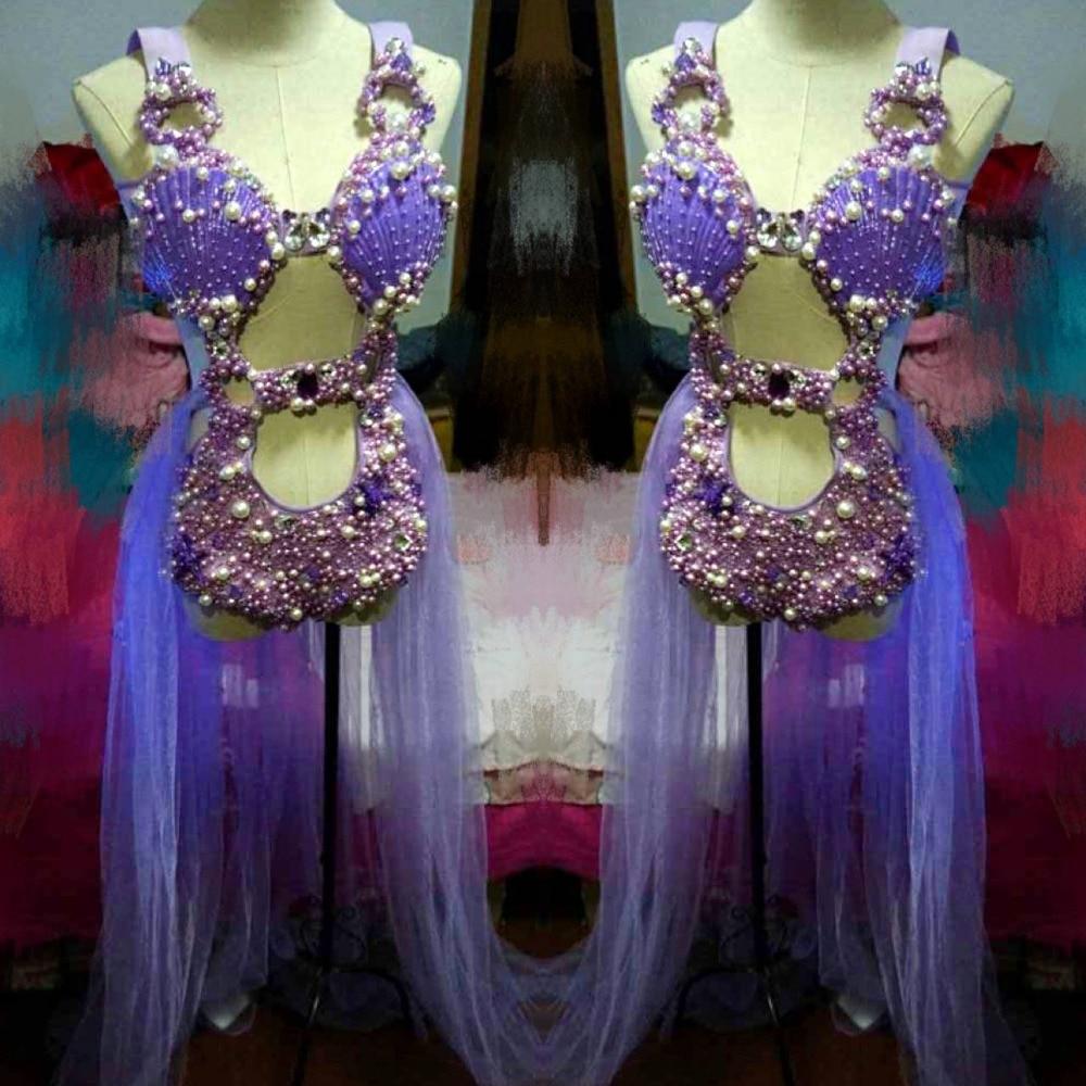 Фиолетовый Shell Pearl боди с кристаллами комплекты из трех предметов блестящими кристаллами женские боди сексуальные бар DJ для пения танцев