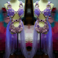 Purple Shell Pearl Crystals Bodysuit three piece sets Shining Crystals Female Bodysuit sexy Bar DJ Singer Dancing perIformance