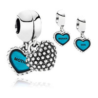 Wholesale 925 Silver Threaded Charms Mother And Son Blue Love Heart Silver Beads Fits Bracelet & Necklace Women DIY Jewelry