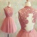 2016 Cheap Short High Neck Lace Vestido De Festa Gowns Party Homecoming Graduation Dress  Backless Dresses