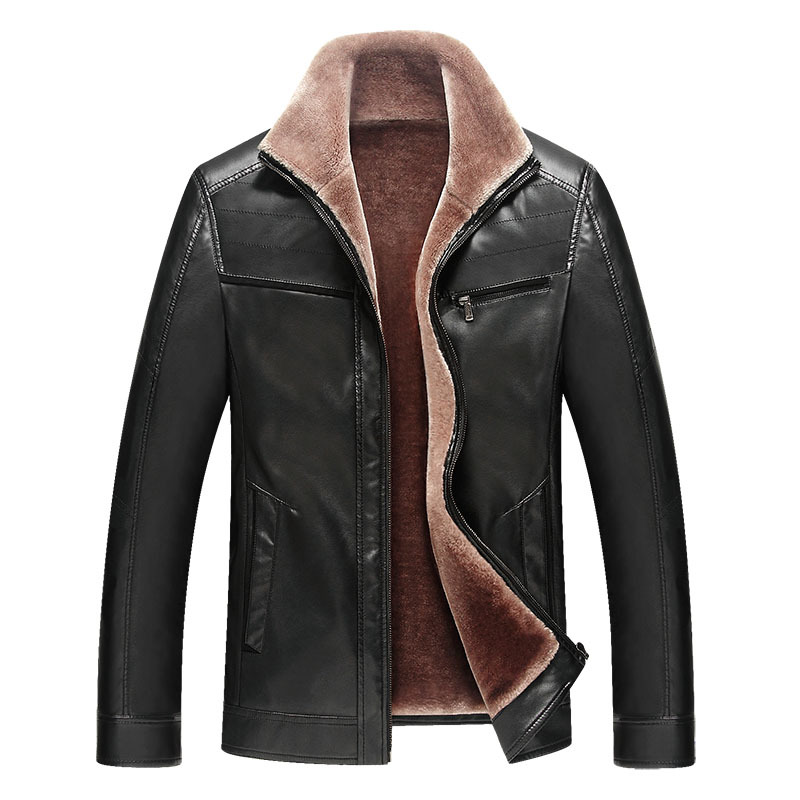 2018 new fashion autumn winter men's thick warm faux fur leather jacket men leather jacket man imitation leather coat outerwear