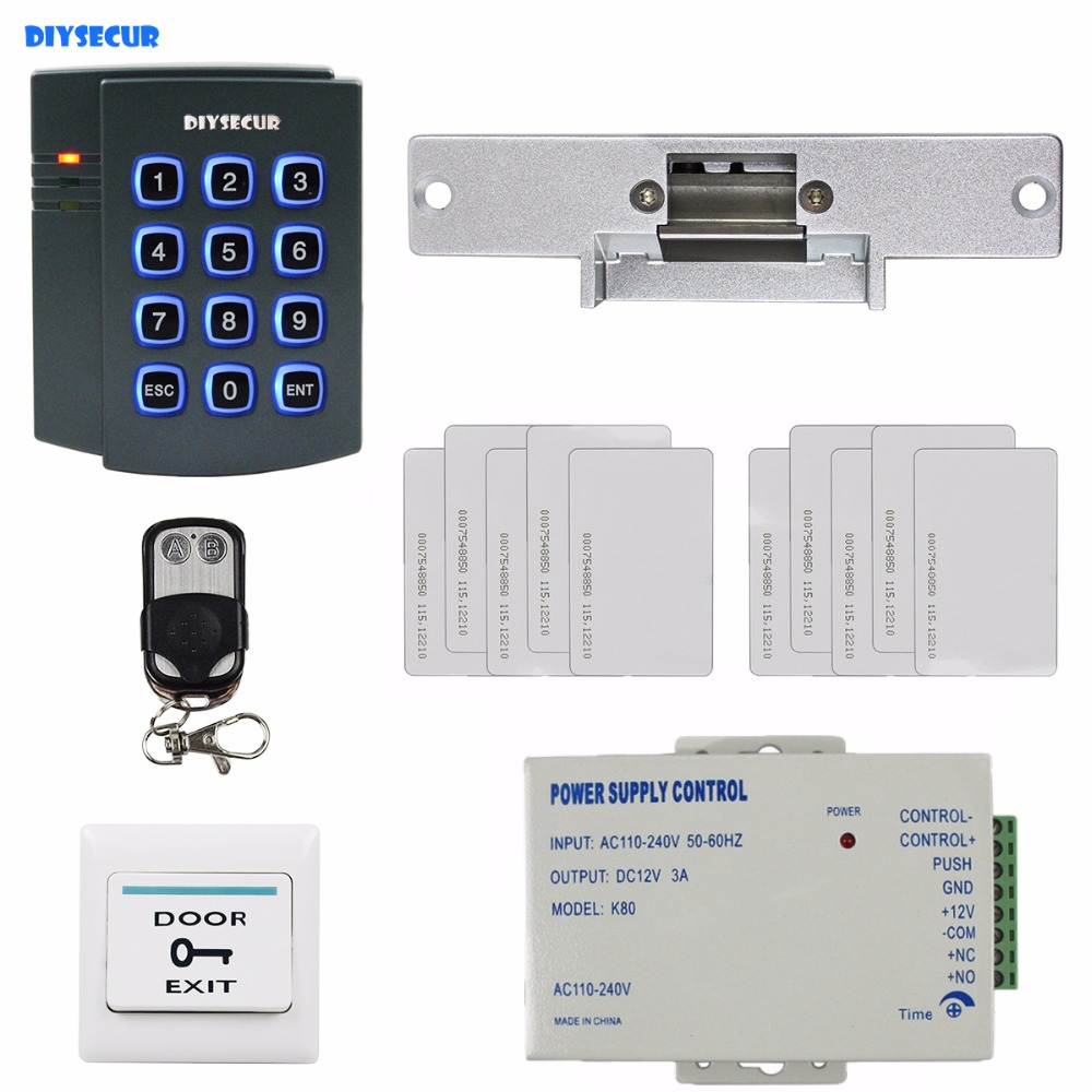 DIYSECUR Remote Controller Complete RFID Reader Access Control System Kit + Strike Door Lock + Exit Button For House / Office diysecur magnetic lock door lock 125khz rfid password keypad access control system security kit for home office